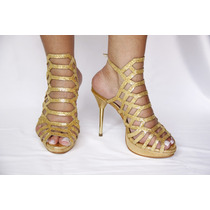 Sandália Salto Dourada Linda E Confortável Em Promoção