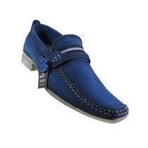 Sapato Manutt Casual 702 Couro No Buck Azul . Lançamento !