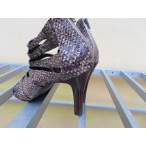 Sapato Feminino 38 Salto Alto De Couro Imitando A De Cobra