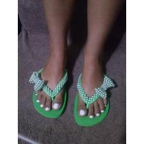 Sandálias Chinelo Havaianas Customizados Com Laço De Pérolas