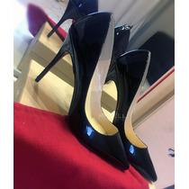 Sapato Louboutin Pigalle Spiked 10cm Preto- Pronta Entrega