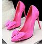 Sapato Salto Alto Bico Fino Importado Laço Frete Gratis