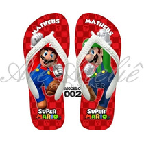 Sandálias Chinelos Havaianas Personalizadas Mario Bros Luigi