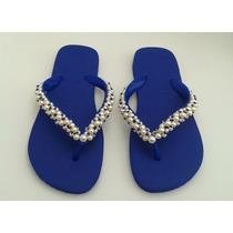 Chinelo Feminino Havaianas Customizado Bordado Azul Pérolas