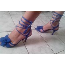 Sandália Gladiadora Azul Salto Médio