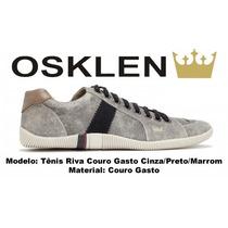 Sapatenis Osklen Tenis Riva Cinza Gasto Em Couro Original