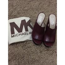 Michael Kors Peggy Mulheres Couro Sandália Sapatos