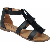 Sandália Rasteira Com Franjas - Véria Calçados