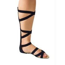 Sandalia Gladiadora Cano Alto -preto - Rasteira-tiras