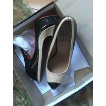 Sapato Preto E Nude Classico Sola Vermelha