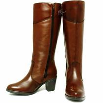 Sapato Feminino Bota Montaria Couro Coleção Outono Inverno