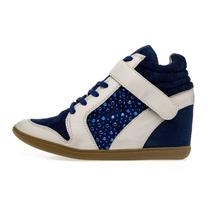 Sneaker Azul E Cinza Com Salto Embutido Lilly
