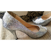 Sapato Sandália Peep Toe Glitter Prata Tam 37 - Salto 11cm
