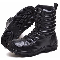 Coturno Bota Militar Ziper Lateral Tatico Palmilha Gel Swat