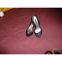 Sapato De Cetim Preto Com Strass Nº36