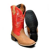 Bota Feminina Texana Country Couro 8095 Rato-vermelho