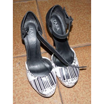 Sapato Scarpin Lara Preto E Branco Nº 39 Salto Alto