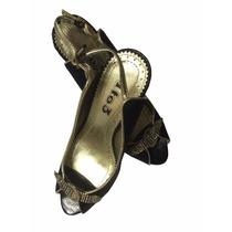 Sandália Em Tecido Preta, Strass Festa - Linda