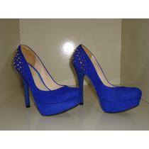 Sapato Salto Alto Azul C/ Spikes No Calcanhar Tamanho 35