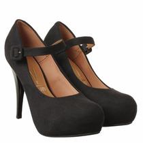 Sapato Scarpin Meia Pata Vizzano Nobuck Feminino Confortável
