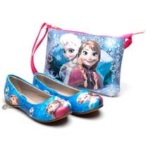 Kit Sapatilha Infantil Menina Disney Frozen Elsa Anna+bolsa