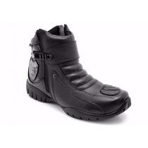 Bota Cano Curto Atron Shoes 271 - Couro Honda Moto Com Zíper