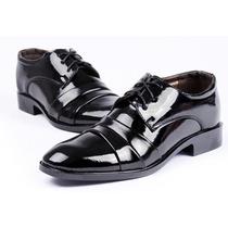 Sapato Social Masculino Preto Envernizado Couro Sintético