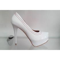 Sapato Meia Pata Branco Com Solado Vermelho