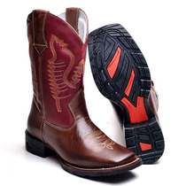 Bota Masculina Texana Country Couro 8089l Café-vinho