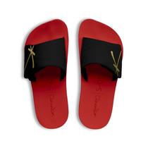 Chinelo Kenner Kivah Original Couro Vermelho E Preto Velcro