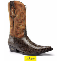 Bota Texana Jacaré Rodeio Country Couro Bordada Ref. 7013