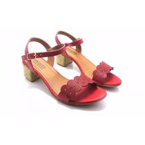 Sandalia Salto Baixo Quadrado Couro Vermelha
