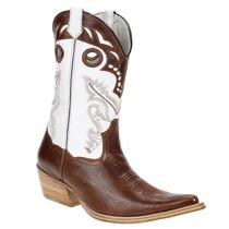 Bota Masculina Texana Bico Fino Couro Marrom - West Country