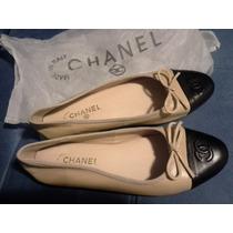 Sapatilha Chanel Bicolor Em Couro Do 35 Ao 39 E.imediata.