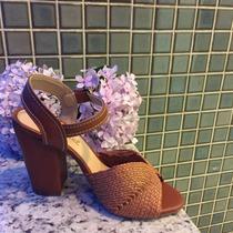 Sandalia Salto Grosso Marca Leluel Shoes Inspiração Schutz