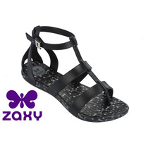 20%off Sandália Gladiadora Zaxy Preto Intense Flash 17036