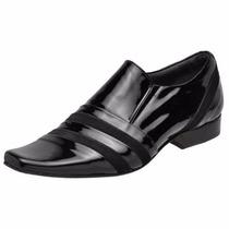 Sapato Masculino Envernizado Solado Em Couro