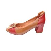 Sapato Feminino Peep Toe Confort Couro Débora Almeida