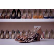 Sapato Feminino Scarpin Peep Toe Oncinha