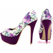 Peep Toe Floral Lilás E Roxo