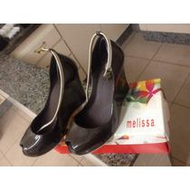 Vendo Melissa Marrom Escura Com Detalhes Em Bege N37 Novinha