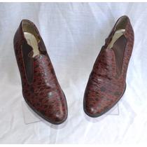Sapato Antigo Vintage Fechado De Couro Imitação De Cobra 34