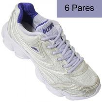 6 Pares De Adidas Force Branco Com Lilas Feminino Lindo