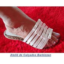 Sandália Em Couro Sintético, Solado Antiderrapante