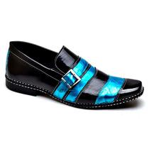 Sapato Casual Social Masculino Verniz Luxo Couro Legitimo