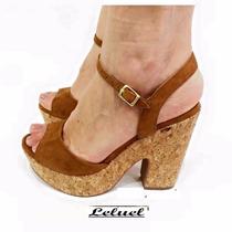 Sandália Anabela Marrom Alto Leluel Shoes Inspiração Schutz