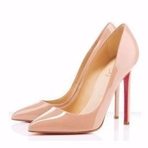 Sapato Nude Louboutin Patente Pigalle - Frete Gratis