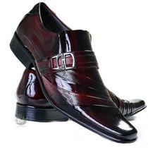 Super Lançamento Sapato Cinto Verniz Social Masculino Couro