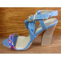 Sandália Feminina Salto Nova Linda Luz Azul Floral 37 Oferta