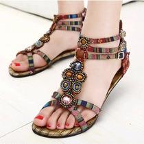 Rasteirinha Gladiadora Designer Fashion Pedras Preciosas 36